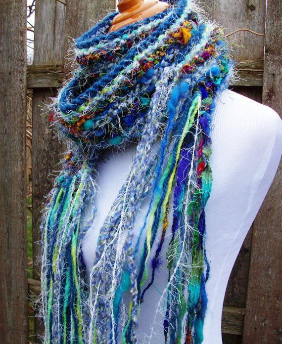 Mardi Gras Hand Knit Scarf Vibrant Blue Sari Silk Yarn by Fanchi, $38.00