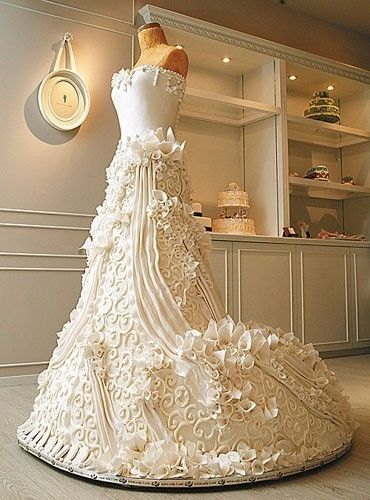 Now THIS is a #wedding cake ... I'm serious ... it IS a cake ... not a dress ... well ... maybe a 'dress  cake' wedding-ideas