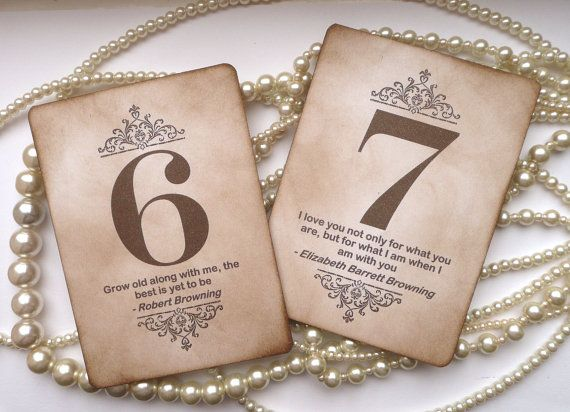 Vintage table numbers with famous love quotes from books. This is beautiful.