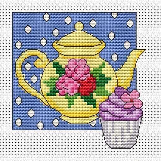 free cross stitch vintage teapot   Amanda Gregory cross-stitch design