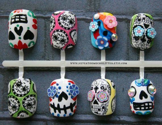 Fake Nails Sugar Skulls Mexican Folk Art by Nevertoomuchglitter, $21.00