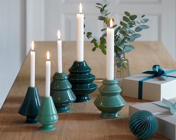 Kerzen-Set aus Minitannen von Avvento als Adventskranz