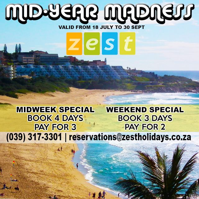 Take advantage of our mid-year #holiday MADNESS special! #Summertime #Margate #KZNSouthCoast
