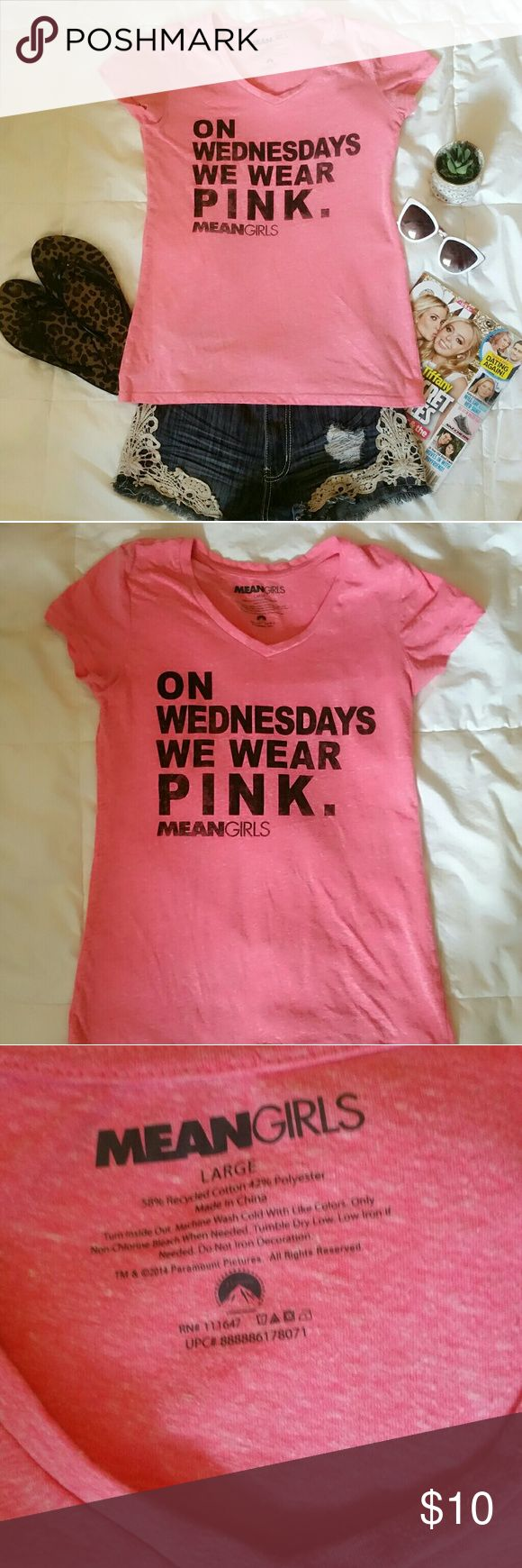 """Mean Girls T-shirt Mean Girls- """"On Wednesday's We Wear Pink"""", pink T-shirt! This iconic line from the movie Mean Girls is not only one of my favorites from the movie but also now a national """"holiday"""" called Pink Wednesday in October to help support Breast Cancer Awareness Month! :)   * Gently Used. * Size: Large. *Smoke free and Pet free home.  ** Shipping is same day or next day depending on the time of day of the purchase except Sunday's (No shipping on Sunday's). Mean Girls Tops Tees…"""