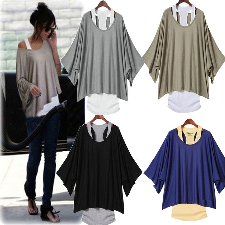Hot Fashion Sexy Womens Casual Loose Tops Batwing Blouse T Shirt Tank Vest 2pcs | eBay