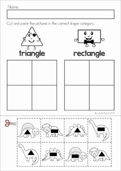 Dinosaur Preschool Math and Literacy No Prep worksheets and activities. A page from the unit: shape sorting cut and paste