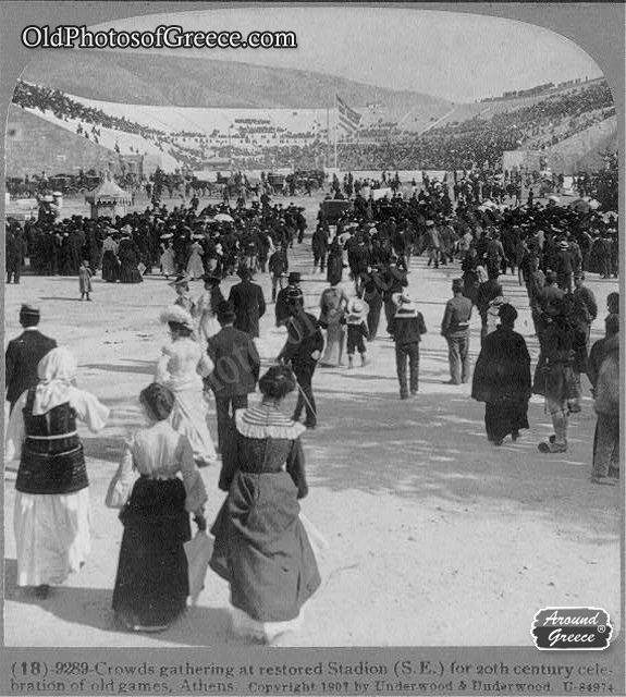 Crowds gathering at restored Olympic Stadium in Athens (c1907)