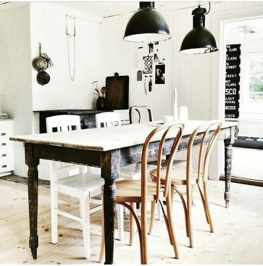 Rustic and industrial dining area