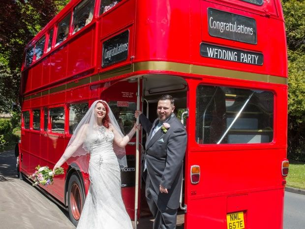 A #vintage Routemaster bus to take this couple to the reception in #style! Image © A Great Pose #wedding