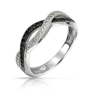 Sterling Silver White and Simulated Onyx CZ Pave Twist Infinity Band Ring