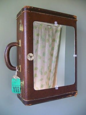 bathroom cabinet made from old suitcase