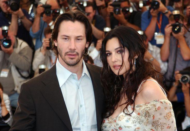 Monica Bellucci et Keanu Reeves présentent le film Matrix Reloaded au 56e Festival de Cannes. (Cannes, 15 mai 2003.)