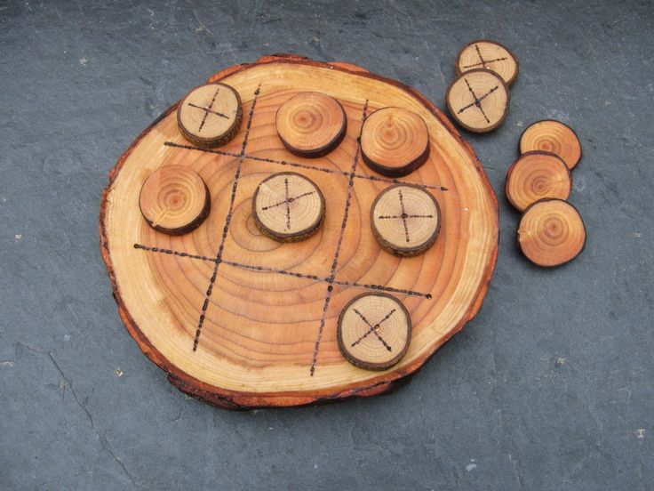 Natural Rustic Wooden Tic Tac Toe or Noughts and Crosses Game.. $25.00, via Etsy.