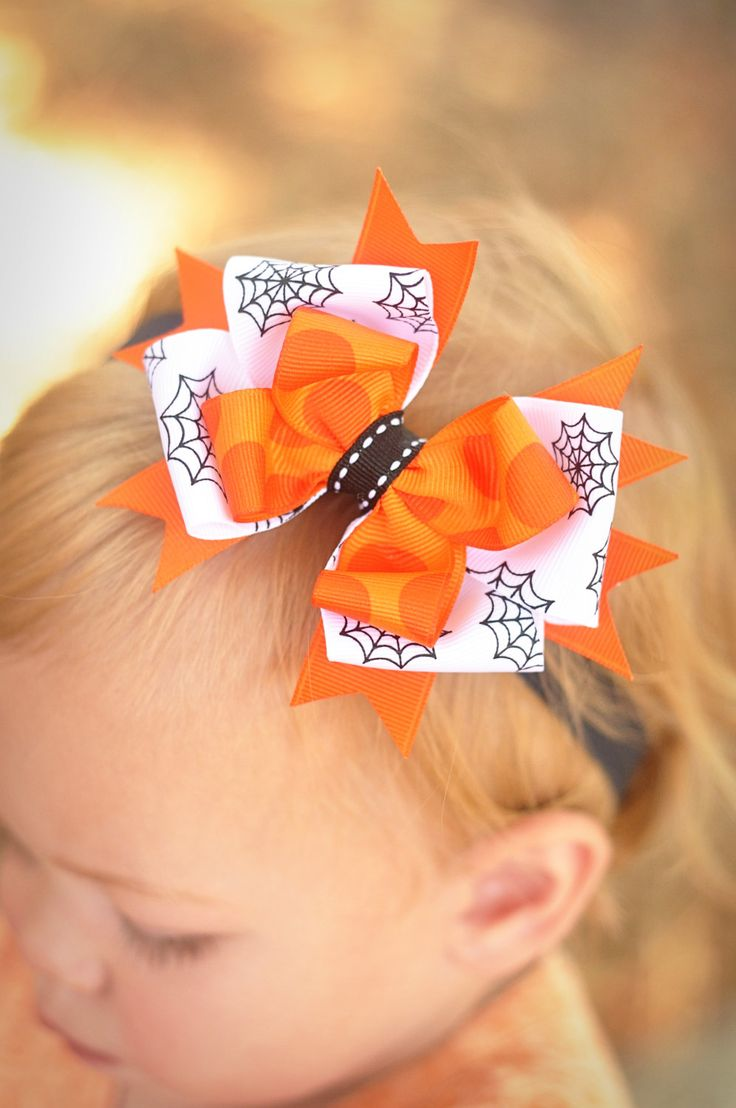 Halloween Stripe Loopy  Baby Headband Halloween Bow