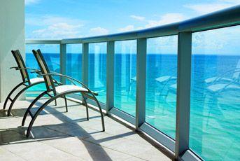 Balcony overlooking the ocean at Marenas Beach Resort & Spa in Miami, Florida