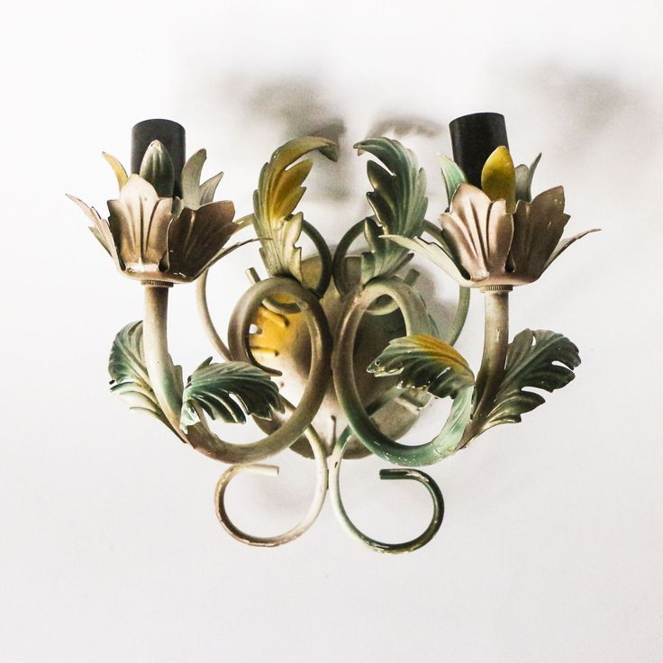 Vintage lamp - Black candle bulbs and yellow green leafs - Painted metal wall sconce - Florentine design style by tsiarde on Etsy https://www.etsy.com/listing/505242340/vintage-lamp-black-candle-bulbs-and
