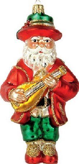 Italian Italy Santa Polish Glass Christmas Ornament Made in Poland