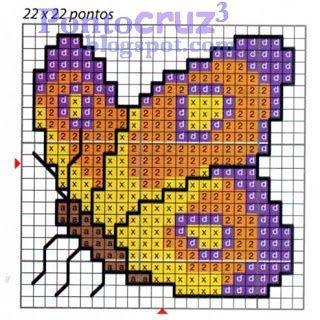 Bordados Ponto Cruz: Gráfico Borboleta amarela com roxo em ponto cruz.