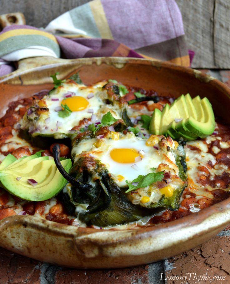 Savory Egg Stuffed Poblano Peppers | LemonyThyme.com