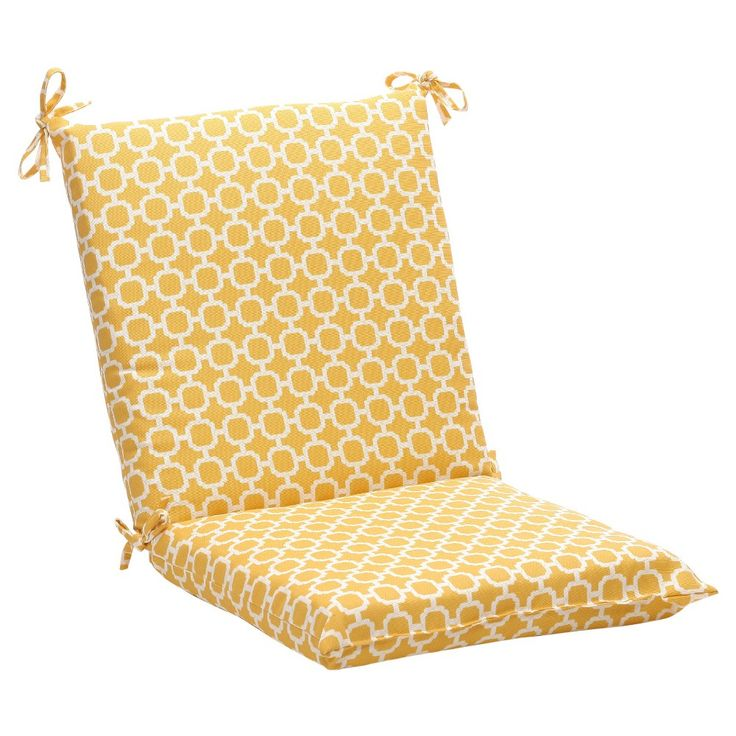 Outdoor Chair Cushion   Yellow/White Geometric   Pillow Perfect