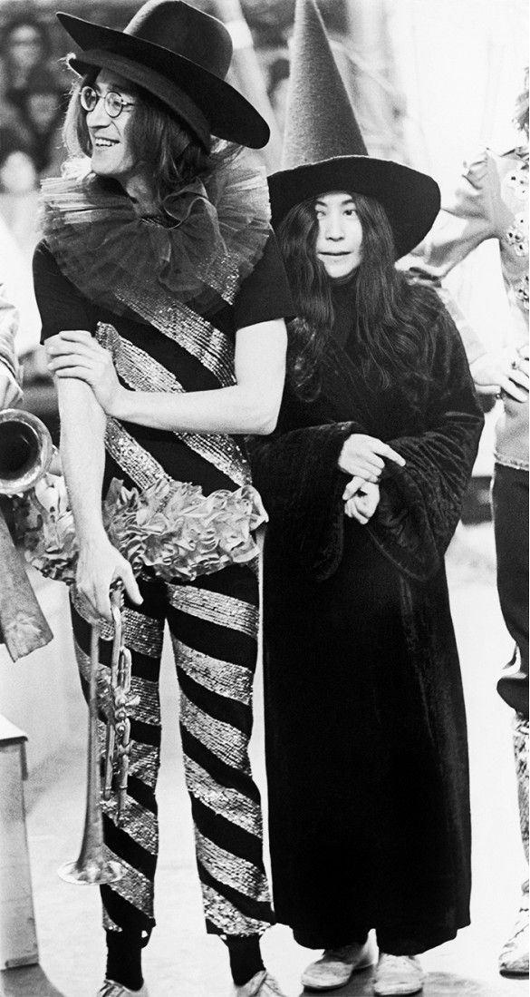 John Lennon and Yoko Ono on the set of the television special, Rolling Stones Rock n Roll Circus, in London, 1968.