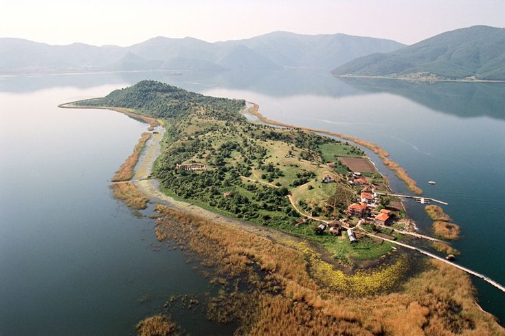 "the tiny Agios Achillios islet at the ""Mikri Prespa"" lake (small Prespa), Greek Macedonia, Greece"