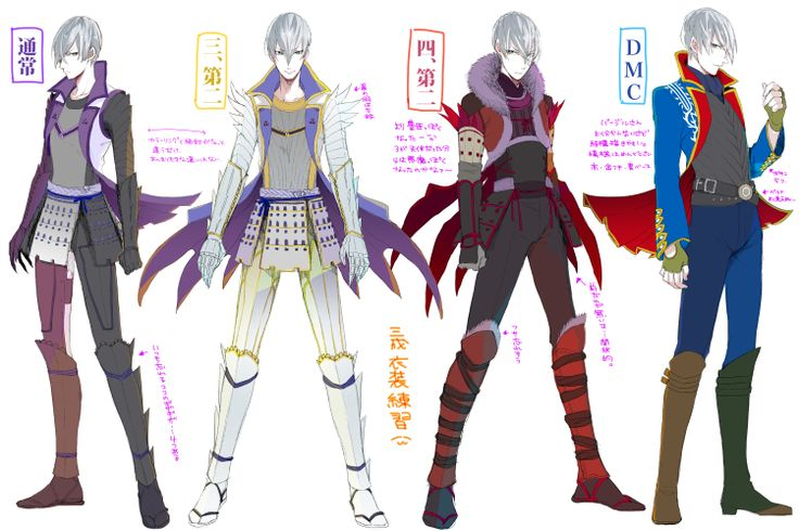 Ishida Mitsunari (Normal, Alternate, and Devil May Cry DLC Outfit Ver.), Sengoku Basara. Art by: 彼方 (Pixiv ID: 403610).