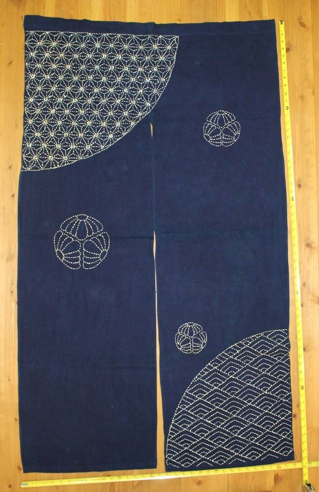 Vintage Japanese Indigo Cotton Sashiko Stitched Kimono Fabric NOREN Curtain in | eBay