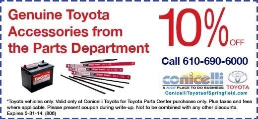 Conicelli Toyota of Springfield Genuine Toyota Accessories from the Parts Department
