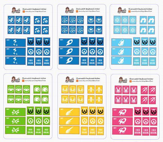 Update!! Overwatch sticker's keyboard ALL character Mercy,D