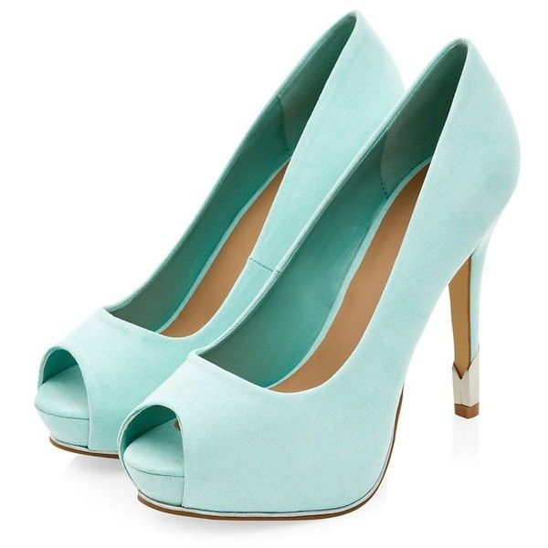 Mint Green Peeptoe Metal Panel Heels (26.165 CLP) ❤ liked on Polyvore featuring shoes, pumps, heels, peep-toe pumps, mint green shoes, mint pumps, mint green pumps and high heel shoes
