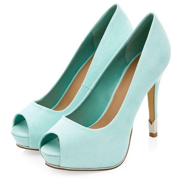 Mint Green Peeptoe Metal Panel Heels ($11) ❤ liked on Polyvore featuring shoes, pumps, heels, peep-toe pumps, high heel shoes, peep toe shoes, heels & pumps and high heel pumps