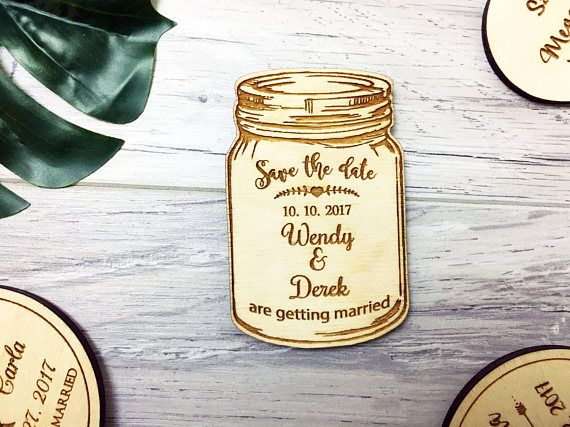 Mason Jar Save The Date Magnet, Wood Mason Jar Magnet, Rustic Save the Date, Save The Date Magnet | Wooden Save The Date | Wedding Invite s