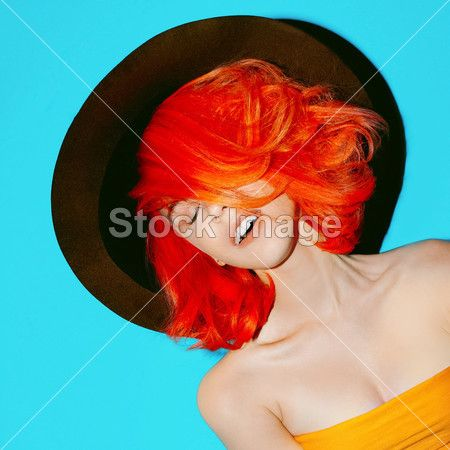 Stylish Lady with red hair and hat Autumn season
