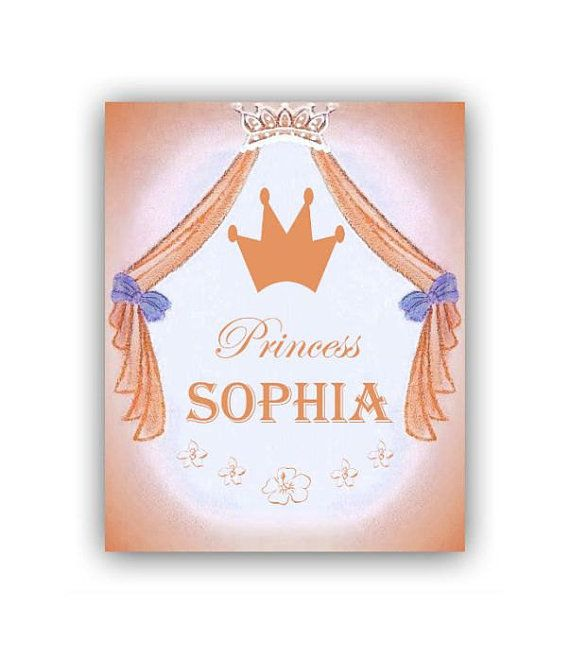Princess Kids Decor Custom Name Art Print 8x10, Princess Childrens Wall Art, Baby Girl Nursery, Girls room Decor, Princess Children Baby Art...