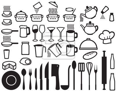 Vinilo para Paredes, iconos de cocina.