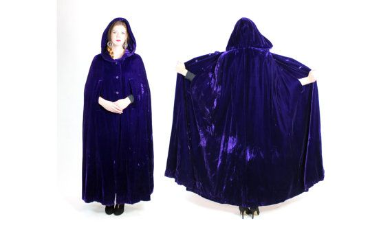 1960s Purple Velvet Gypsy Witch Cape with by pinkchampagnevintage