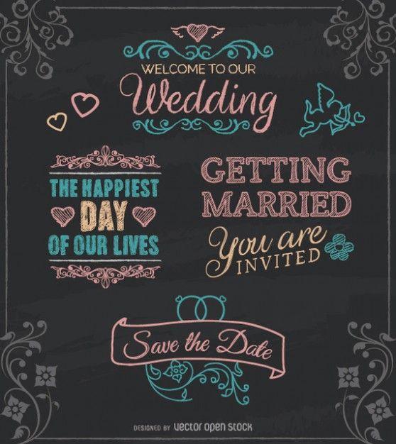 Invitation de mariage Vintage typographique Vecteur gratuit
