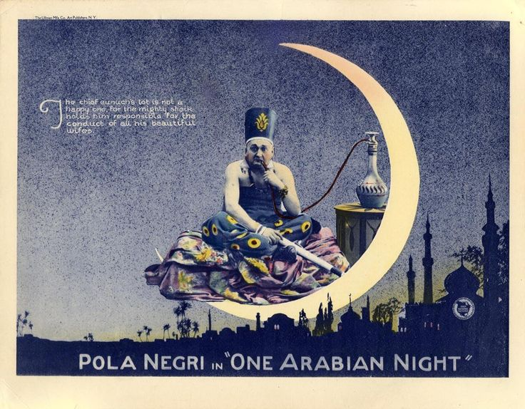 """ein-bleistift-und-radiergummi: """"1920 First National Pictures Lobby Card 'One Arabian Night' - Directed by Ernst Lubitsch. Lobby card for the American release of an early and now rare fantasy film from the great Ernst Lubitsch. The film was released..."""
