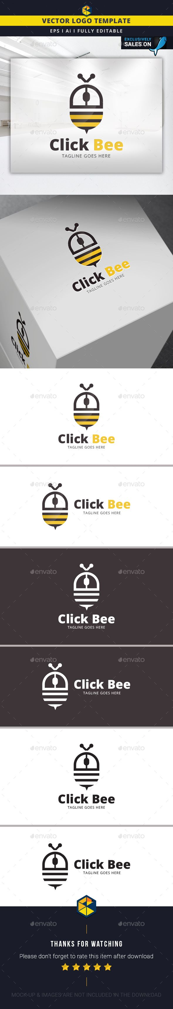 Click Bee  Logo Design Template Vector #logotype Download it here: http://graphicriver.net/item/click-bee-logo-template/14285431?s_rank=1528?ref=nesto