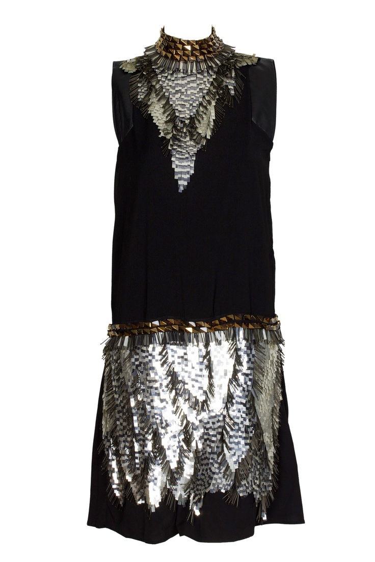 the black and gold metal pikes printed dress by Just Cavalli. It's original, glamourous and #WeLoveIt #GBmoda #JustCavalli #AbuDhabi.