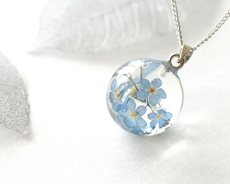 Real Forget-me-not Flowers Necklace - blue Forget me not in Globe ball Resin - Myosotis sylvatica