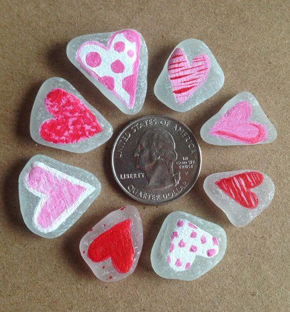 Mar de corazón cristal/pintado mar cristal por LoveTinyTreasures