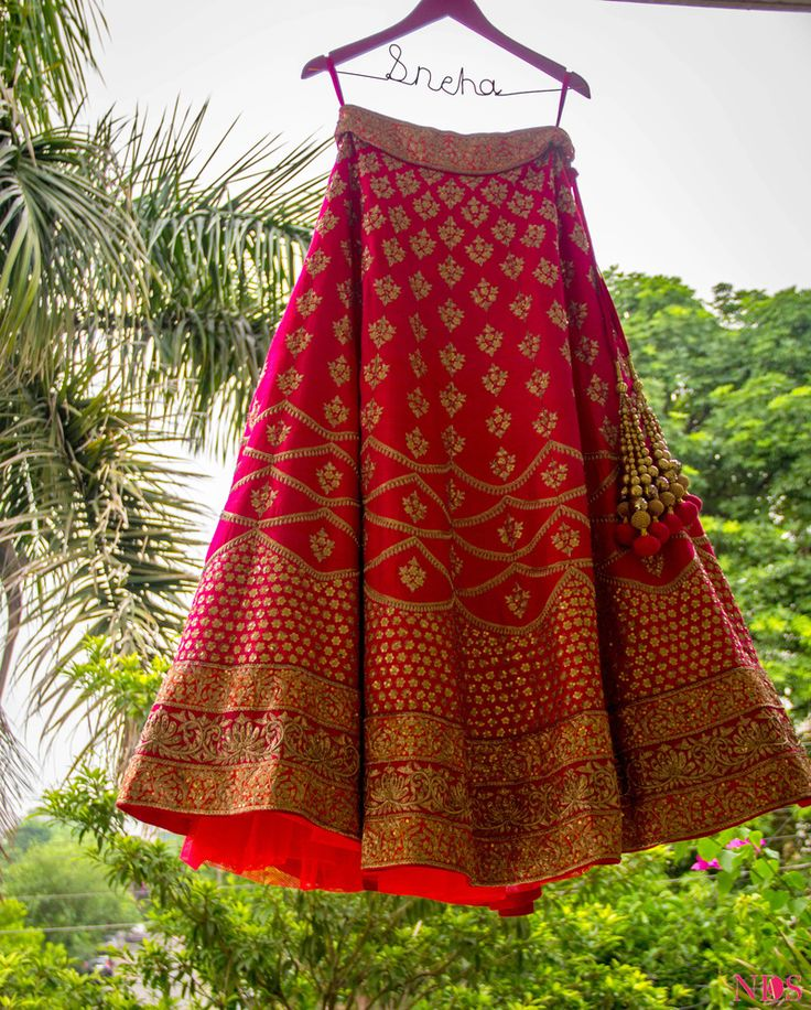 Bright Pink and Red Lehenga on Personalised Hanger