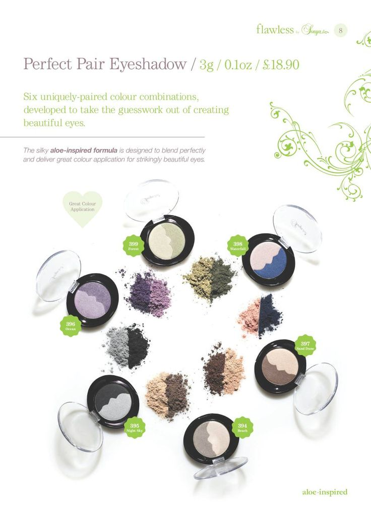 Sonya Brochure / Perfect Pair Eyeshadow - Six uniquely-paired colour combinations, developed to take the guesswork out of creating beautiful eyes.   http://myaloevera.se/evarosendahlshop/sv/shop/category/makeup
