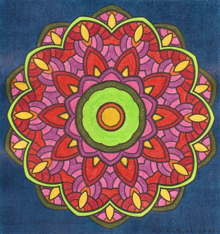 Mandafleur   Coloriage, Papier paint, Crayon de couleur
