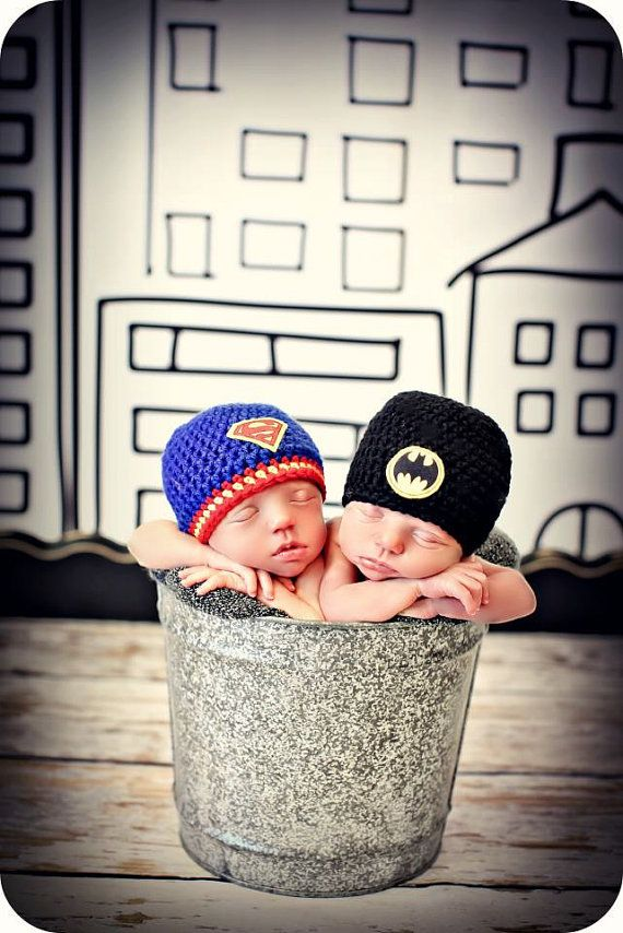 Newborn Photo Prop Twin Baby Boy Superhero Hats by MitziKnitz, $46.00