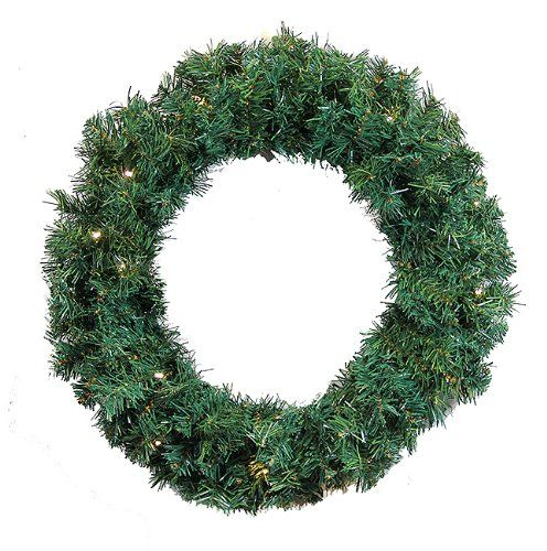 36 Pre-Lit Green Cedar Pine Artificial Christmas Wreath - Warm White LED Lights. 36 Pre-Lit Cedar Pine Artificial Christmas Wreath Item #DRMST36350GLEDTraditional green tips that are a medium green color mixed with two-tone light and dark green tipsFeatures:350 branch tipsPre-lit with 100 warm white LED wide angle lightsWarm white also known as warm clear has a nice natural warm incandescent like glow If one bulb burns out the rest stay litLights are equipped with the Lamp Lock feature, w