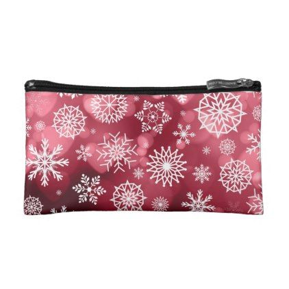 Snowflakes on a Valentine Background Cosmetic Bag - valentines day gifts love couple diy personalize for her for him girlfriend boyfriend