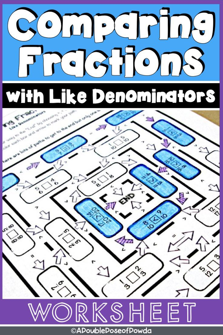 Comparing Fractions With Like Denominators Worksheet  Mathematics  Comparing Fractions With Like Denominators Worksheet Fun Student Practice  Math Worksheet Comparing Fractions With Like Denominators